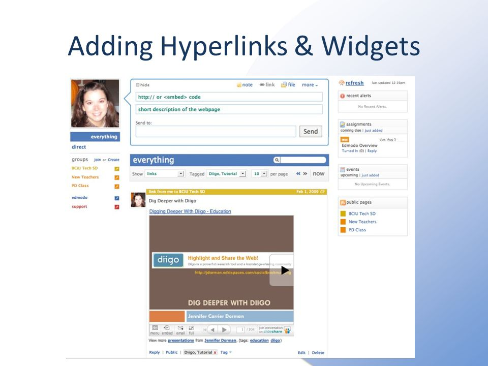 Adding Hyperlinks & Widgets