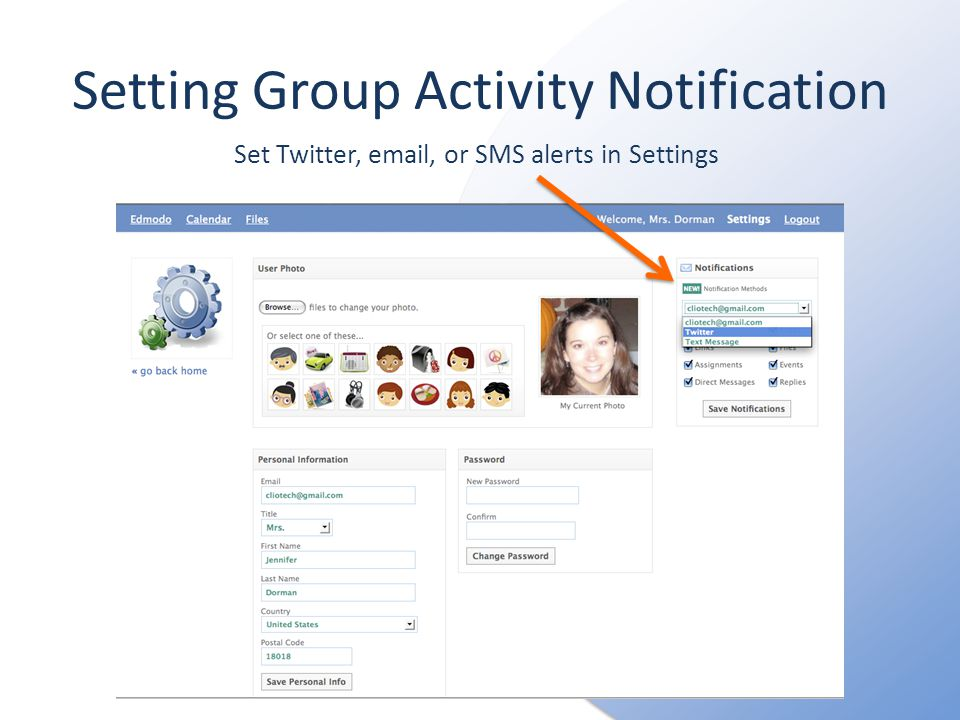 Setting Group Activity Notification Set Twitter,  , or SMS alerts in Settings