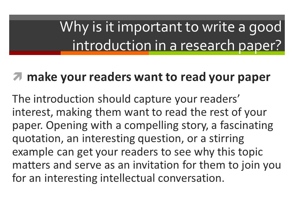 writing good introductions research papers Learn the basics about how to write your introduction in 3 easy step intended for a middle school audience-- created using powtoon -- free sign up at http.