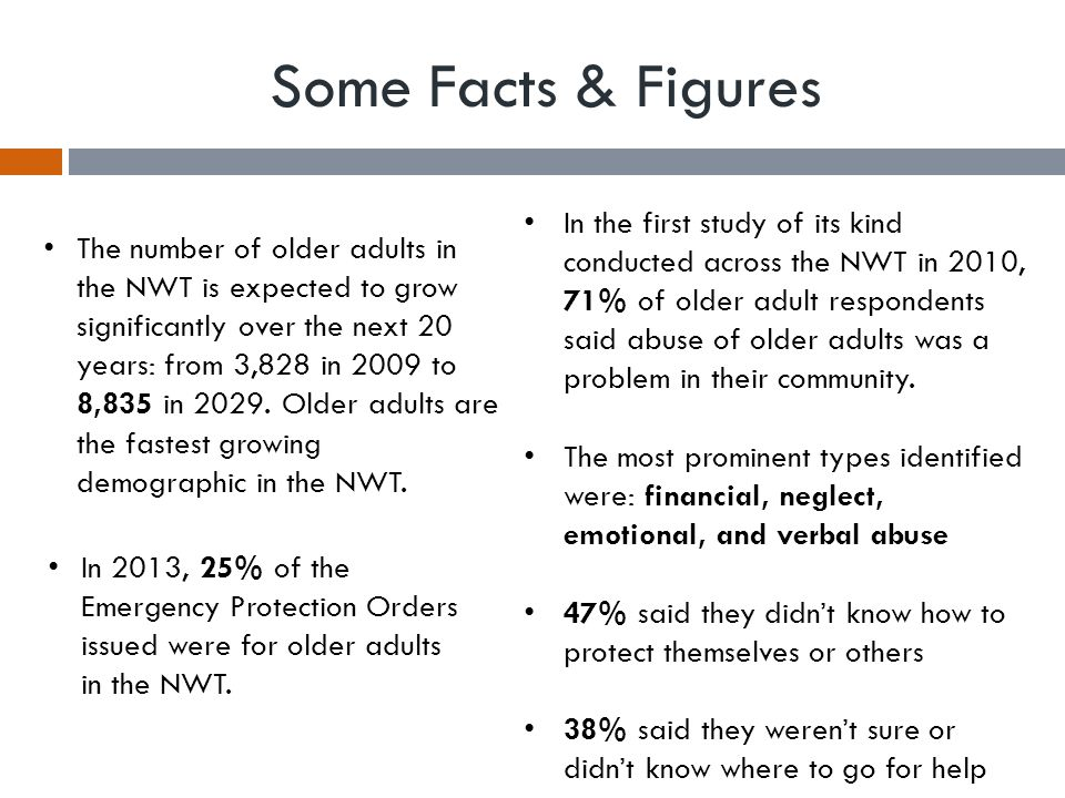 Some Facts & Figures In 2013, 25% of the Emergency Protection Orders issued were for older adults in the NWT.