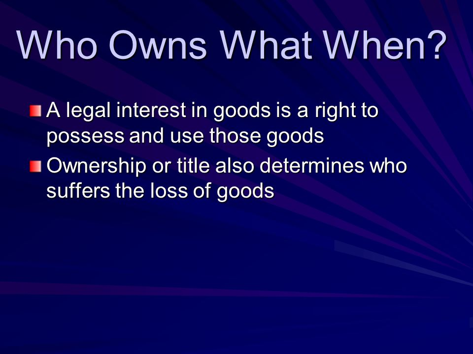 Who Owns What When. Who Owns What When.