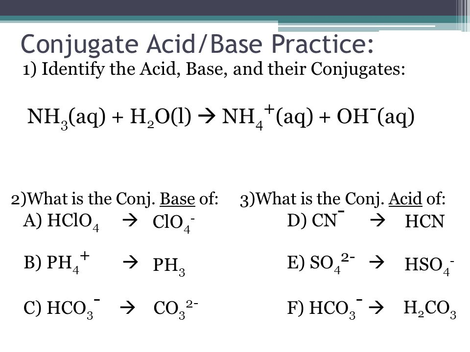 Conjugate Acid/Base Practice: 1) Identify the Acid, Base, and their Conjugates: NH 3 (aq) + H 2 O(l)  NH 4 + (aq) + OH - (aq) 2)What is the Conj.