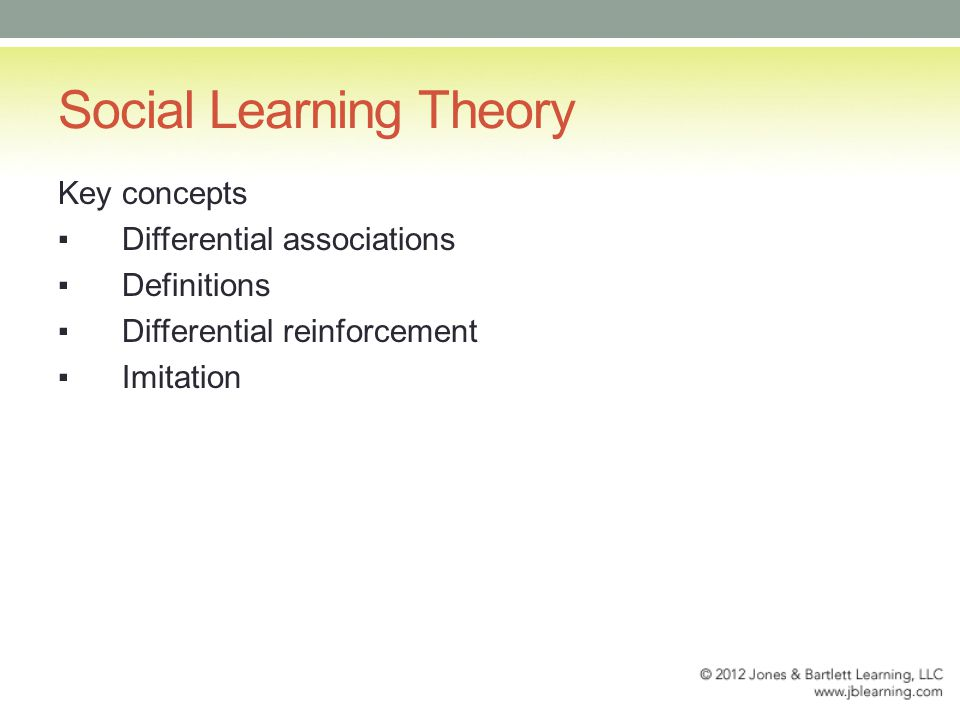 Social Learning Theory Key concepts ▪Differential associations ▪Definitions ▪Differential reinforcement ▪Imitation