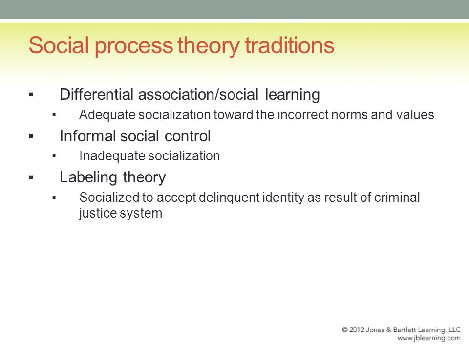 Social process theory traditions ▪Differential association/social learning ▪Adequate socialization toward the incorrect norms and values ▪Informal social control ▪Inadequate socialization ▪Labeling theory ▪Socialized to accept delinquent identity as result of criminal justice system