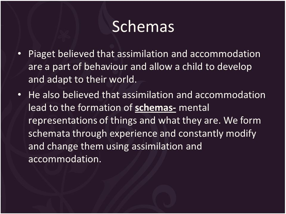 Schemas Piaget believed that assimilation and accommodation are a part of behaviour and allow a child to develop and adapt to their world.