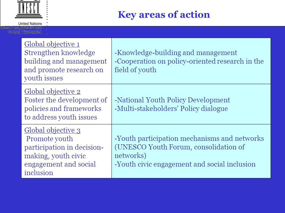 Key areas of action Global objective 1 Strengthen knowledge building and management and promote research on youth issues - Knowledge-building and management - Cooperation on policy-oriented research in the field of youth Global objective 2 Foster the development of policies and frameworks to address youth issues - National Youth Policy Development - Multi-stakeholders' Policy dialogue Global objective 3 Promote youth participation in decision- making, youth civic engagement and social inclusion - Youth participation mechanisms and networks (UNESCO Youth Forum, consolidation of networks) - Youth civic engagement and social inclusion
