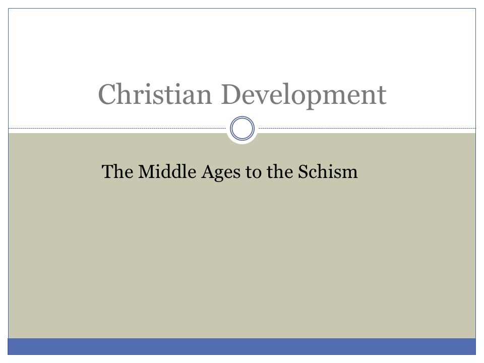Christian Development The Middle Ages to the Schism