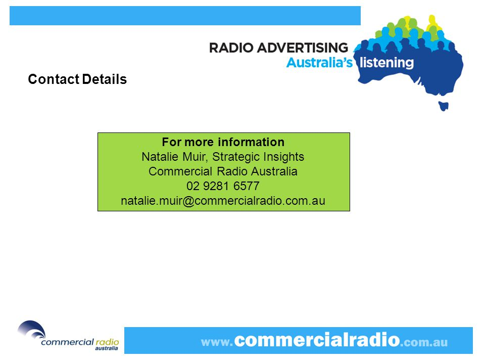 Contact Details For more information Natalie Muir, Strategic Insights Commercial Radio Australia