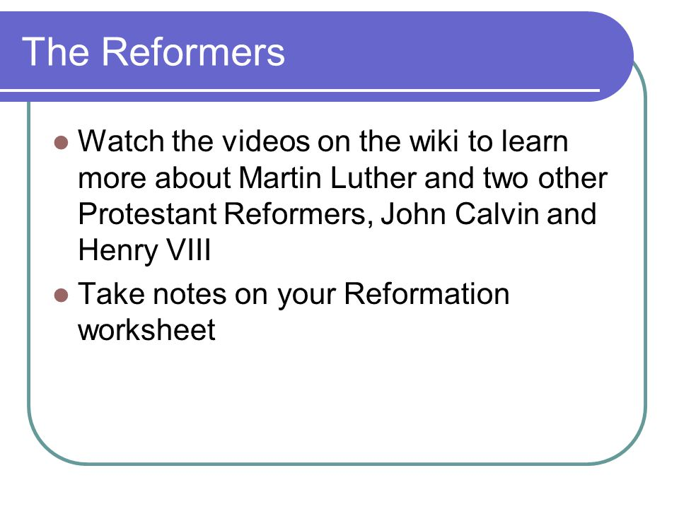 Causes of the Protestant Reformation When should one question – Protestant Reformation Worksheet