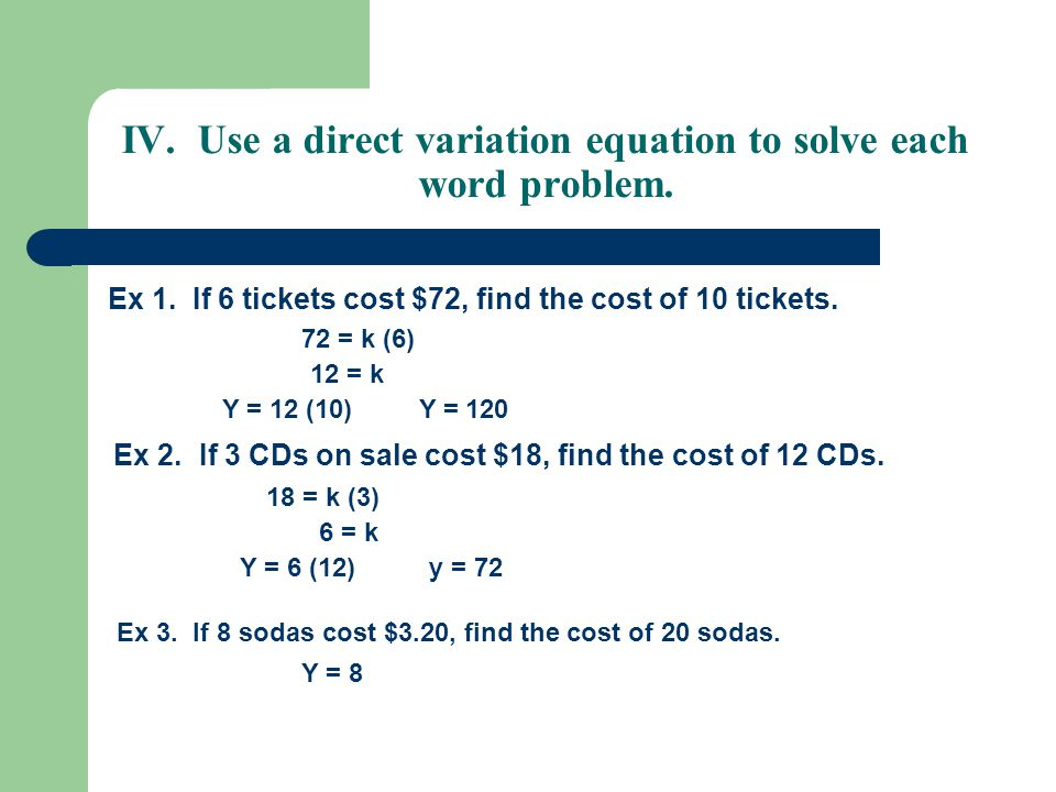 Worksheets Direct Variation Word Problems Worksheet 1 4 direct variation and proportion objectives write apply use a equation to solve each word problem ex 1