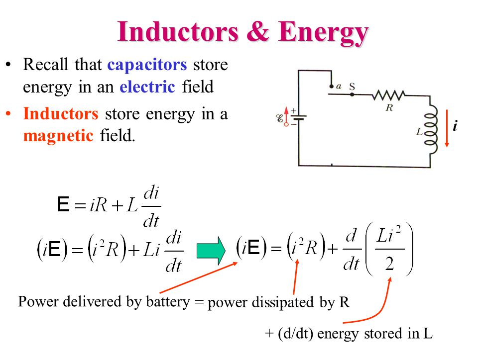 Inductors & Energy Recall that capacitors store energy in an electric field Inductors store energy in a magnetic field.