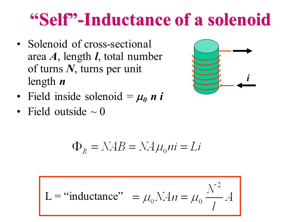 Self -Inductance of a solenoid Solenoid of cross-sectional area A, length l, total number of turns N, turns per unit length n Field inside solenoid =  0 n i Field outside ~ 0 i L = inductance