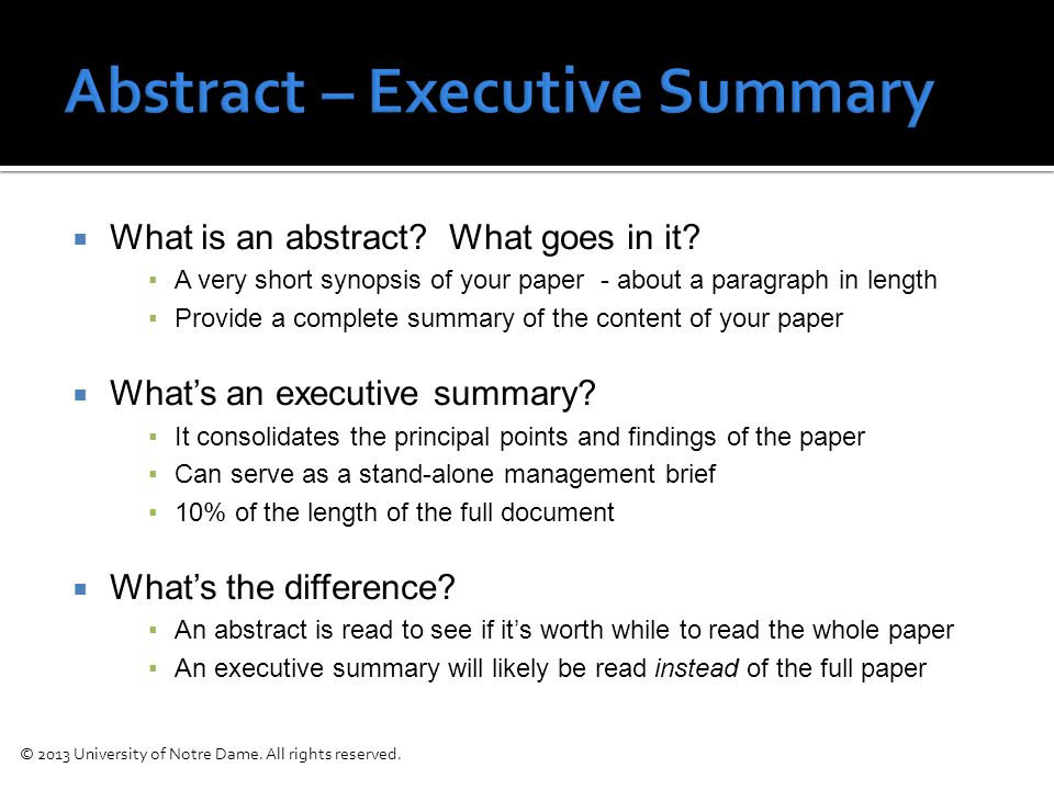  What is an abstract. What goes in it.