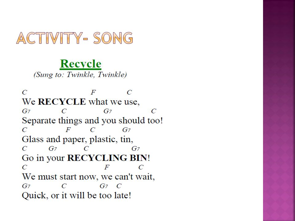  Draw or paste pictures of recyclables.