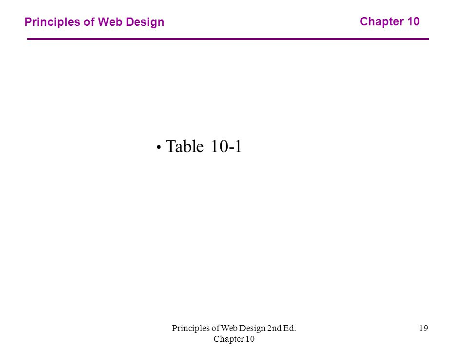 Principles of Web Design 2nd Ed. Chapter Principles of Web Design Chapter 10 Table 10-1