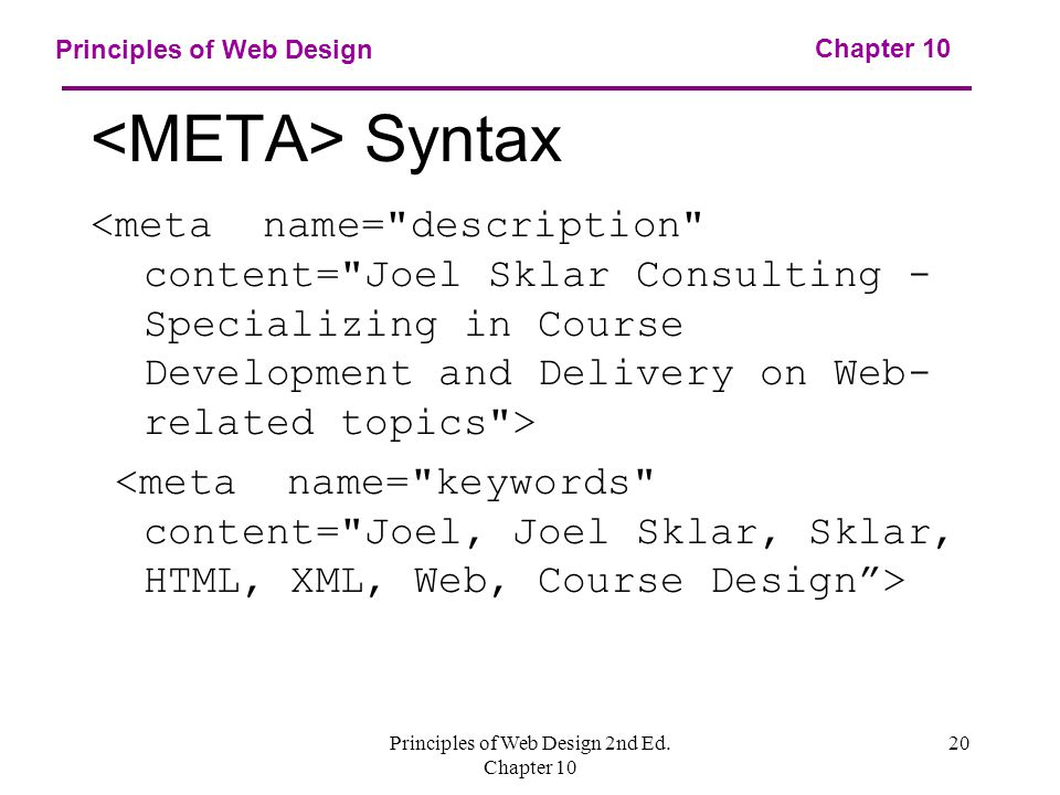 Principles of Web Design 2nd Ed. Chapter Principles of Web Design Syntax Chapter 10
