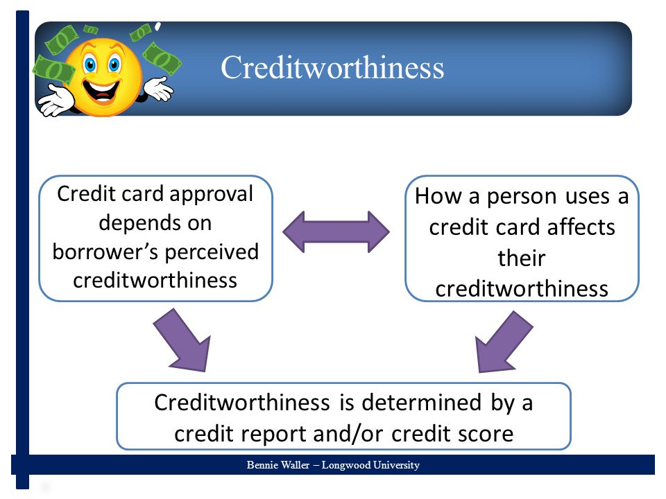 Bennie Waller – Longwood University Creditworthiness How a person uses a credit card affects their creditworthiness Credit card approval depends on borrower's perceived creditworthiness Creditworthiness is determined by a credit report and/or credit score