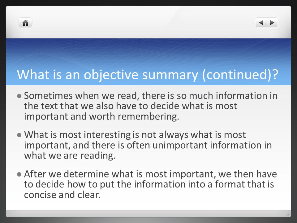 objective summary for mk essay Literary analysis essay objective: analyze a work of literature (short story, poem, novel, play, etc) create a thesis that conveys a unique or interesting idea about the work, and then prove your thesis.
