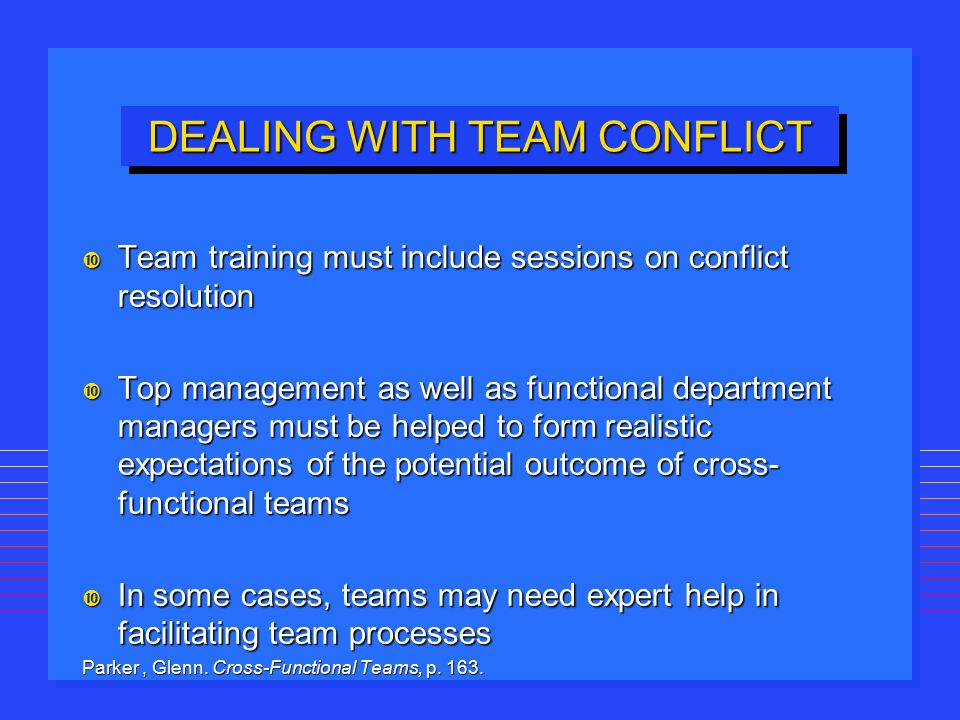DEALING WITH TEAM CONFLICT Team training must include sessions on conflict resolution Team training must include sessions on conflict resolution Top m