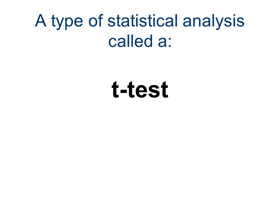 A type of statistical analysis called a: t-test