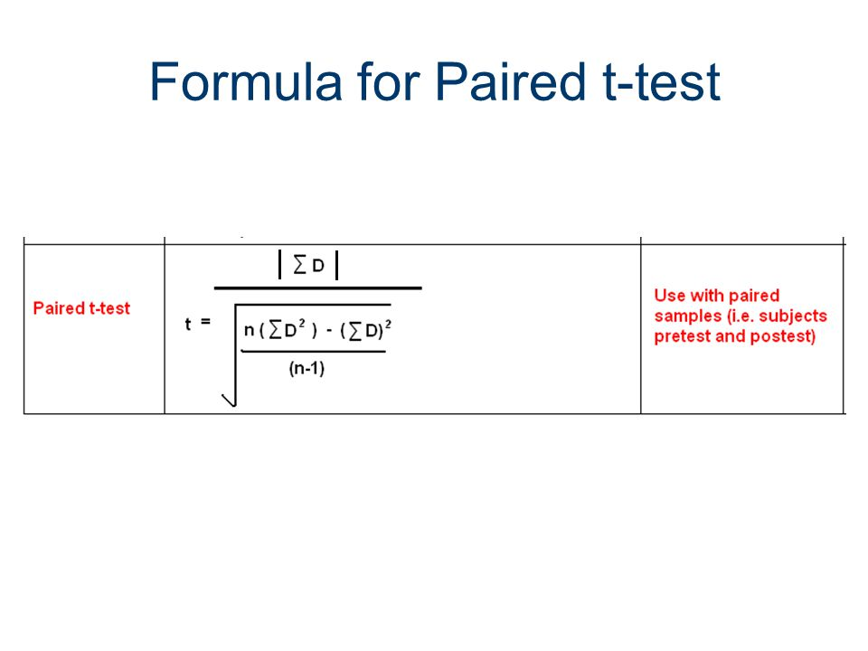 Formula for Paired t-test
