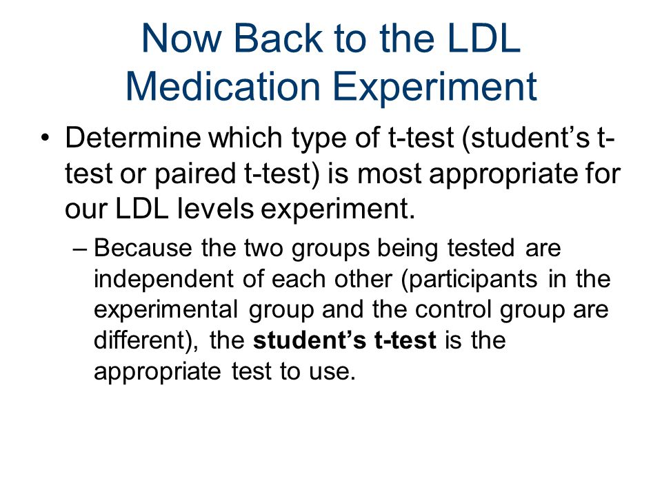 Now Back to the LDL Medication Experiment Determine which type of t-test (student's t- test or paired t-test) is most appropriate for our LDL levels experiment.