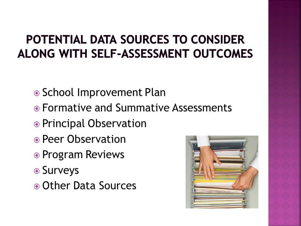  School Improvement Plan  Formative and Summative Assessments  Principal Observation  Peer Observation  Program Reviews  Surveys  Other Data Sources