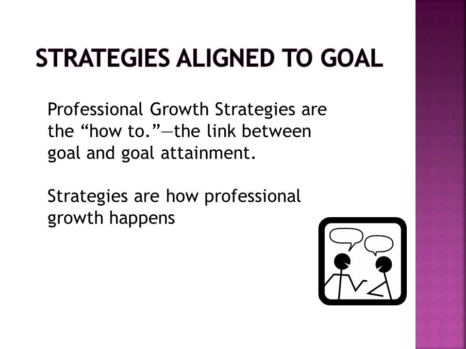 Professional Growth Strategies are the how to. —the link between goal and goal attainment.
