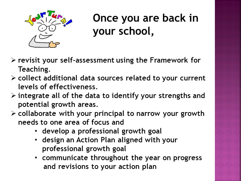  revisit your self-assessment using the Framework for Teaching.