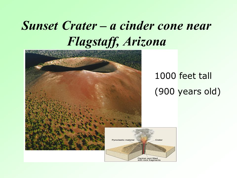 Sunset Crater – a cinder cone near Flagstaff, Arizona 1000 feet tall (900 years old)