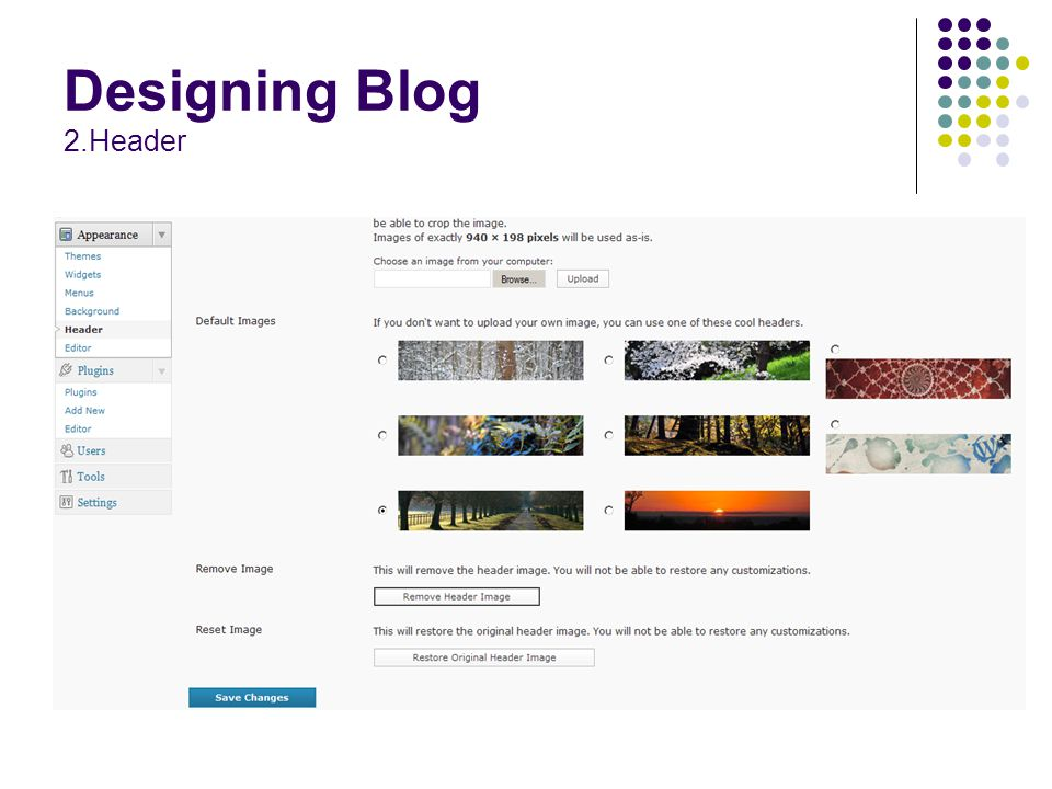Designing Blog 2.Header
