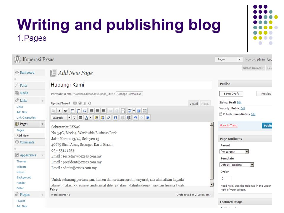 Writing and publishing blog 1.Pages