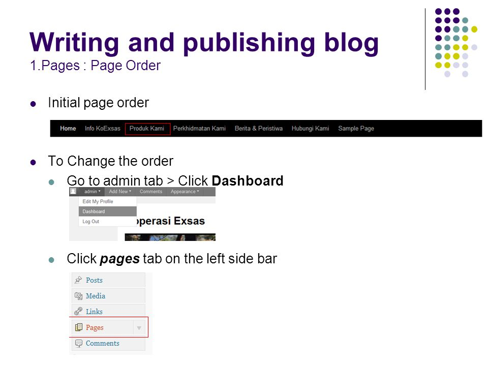 Writing and publishing blog 1.Pages : Page Order Initial page order To Change the order Go to admin tab > Click Dashboard Click pages tab on the left side bar