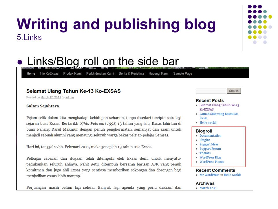 Links/Blog roll on the side bar