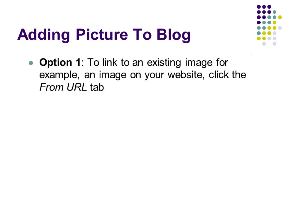 Adding Picture To Blog Option 1: To link to an existing image for example, an image on your website, click the From URL tab