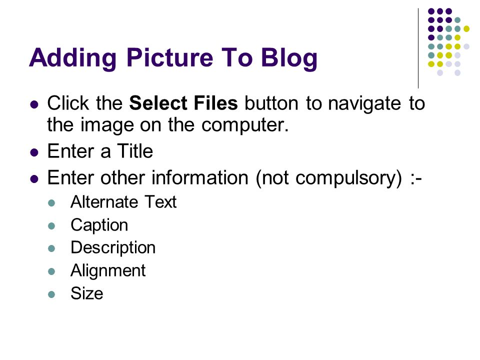 Adding Picture To Blog Click the Select Files button to navigate to the image on the computer.