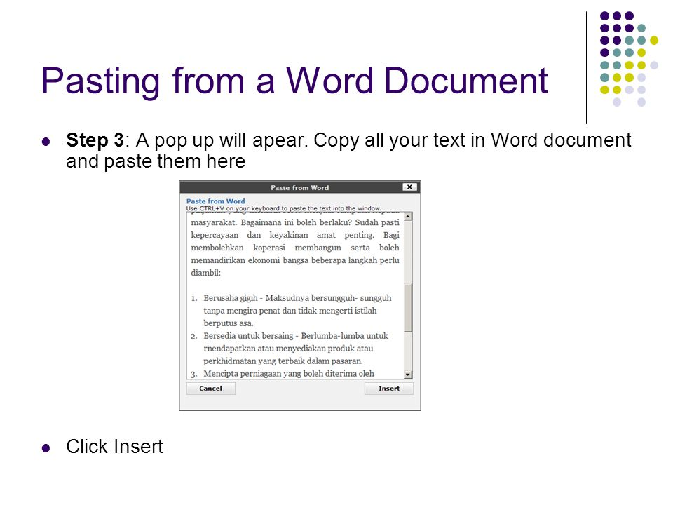 Pasting from a Word Document Step 3: A pop up will apear.