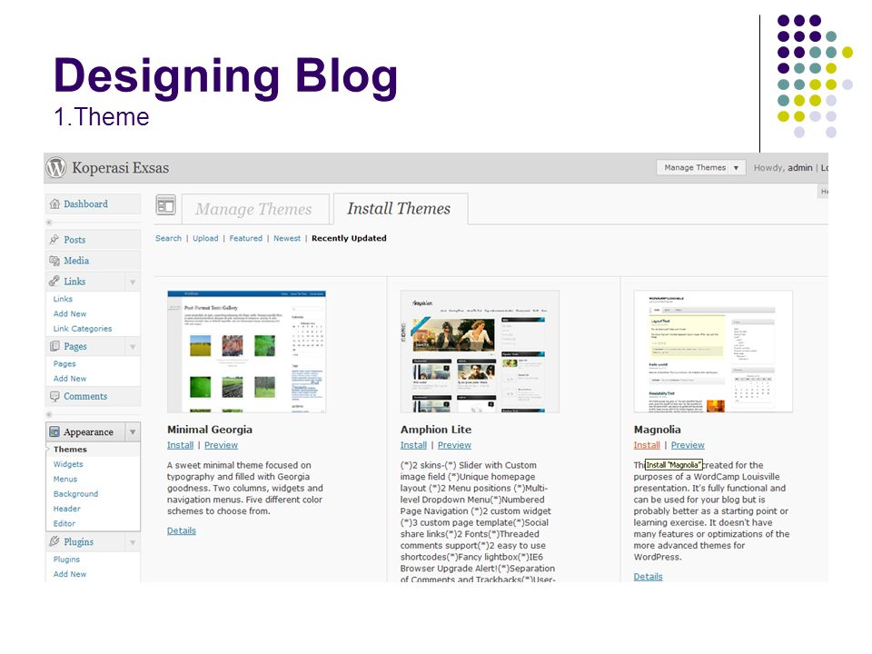 Designing Blog 1.Theme