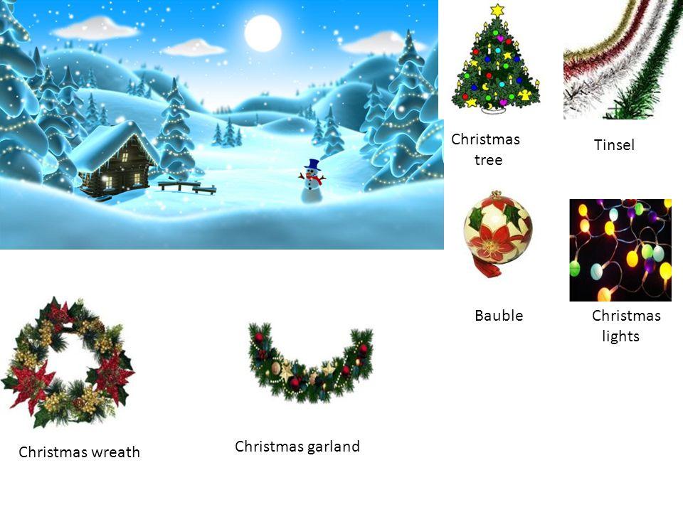 Christmas tree Tinsel Bauble Christmas lights Christmas wreath Christmas garland