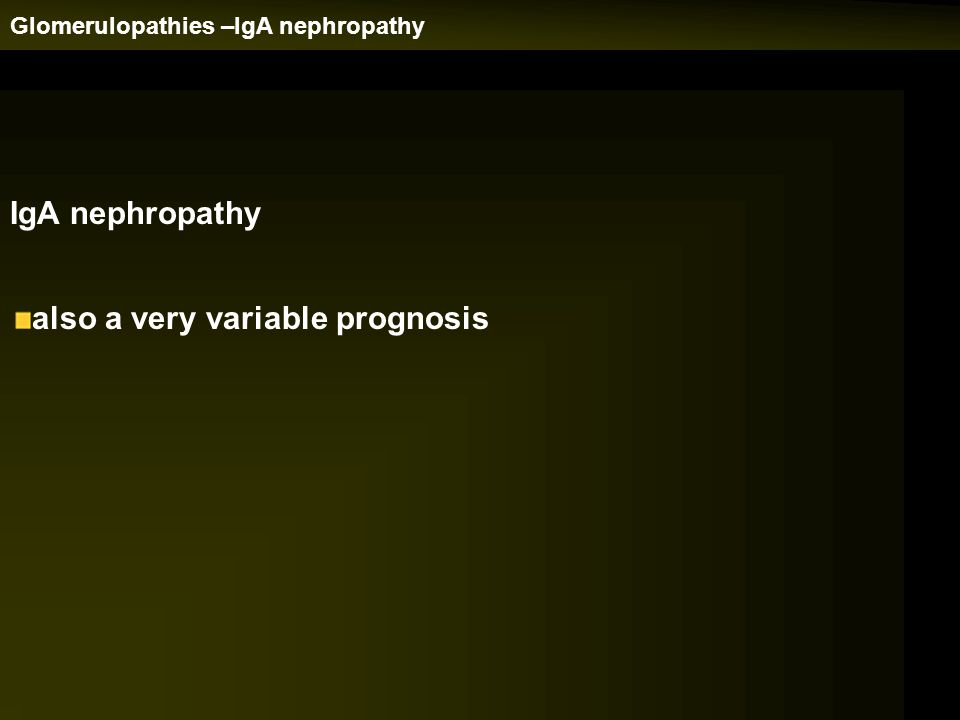 IgA nephropathy also a very variable prognosis