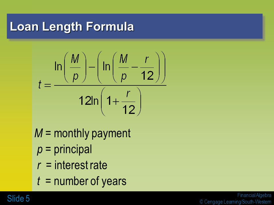 Monthly Payment Formula & Loan Mortgage formulas