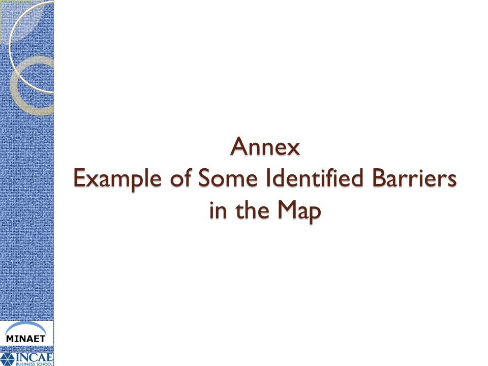 Annex Example of Some Identified Barriers in the Map