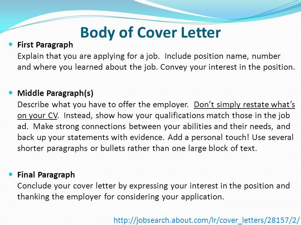 Cover letter 1st paragraph