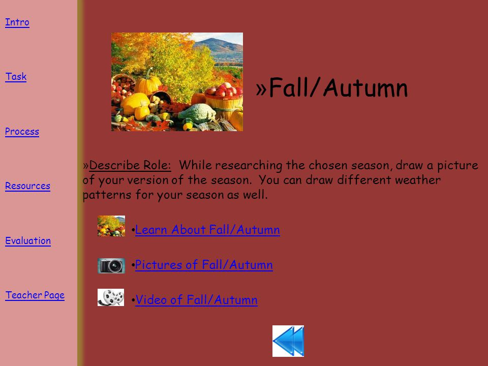 » Fall/Autumn » Describe Role: While researching the chosen season, draw a picture of your version of the season.