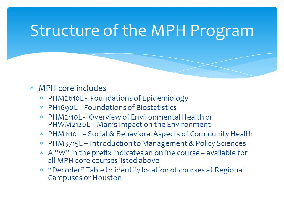 Structure of the MPH Program  MPH core includes  PHM2610L - Foundations of Epidemiology  PH1690L - Foundations of Biostatistics  PHM2110L - Overview of Environmental Health or PHWM2120L – Man's Impact on the Environment  PHM1110L – Social & Behavioral Aspects of Community Health  PHM3715L – Introduction to Management & Policy Sciences  A W in the prefix indicates an online course – available for all MPH core courses listed above  Decoder Table to identify location of courses at Regional Campuses or Houston