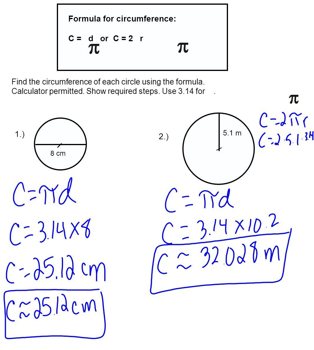 Diameter Formula Gallery