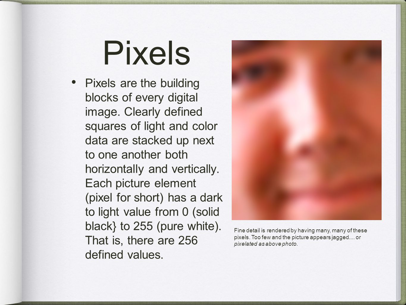 Pixels Pixels are the building blocks of every digital image.