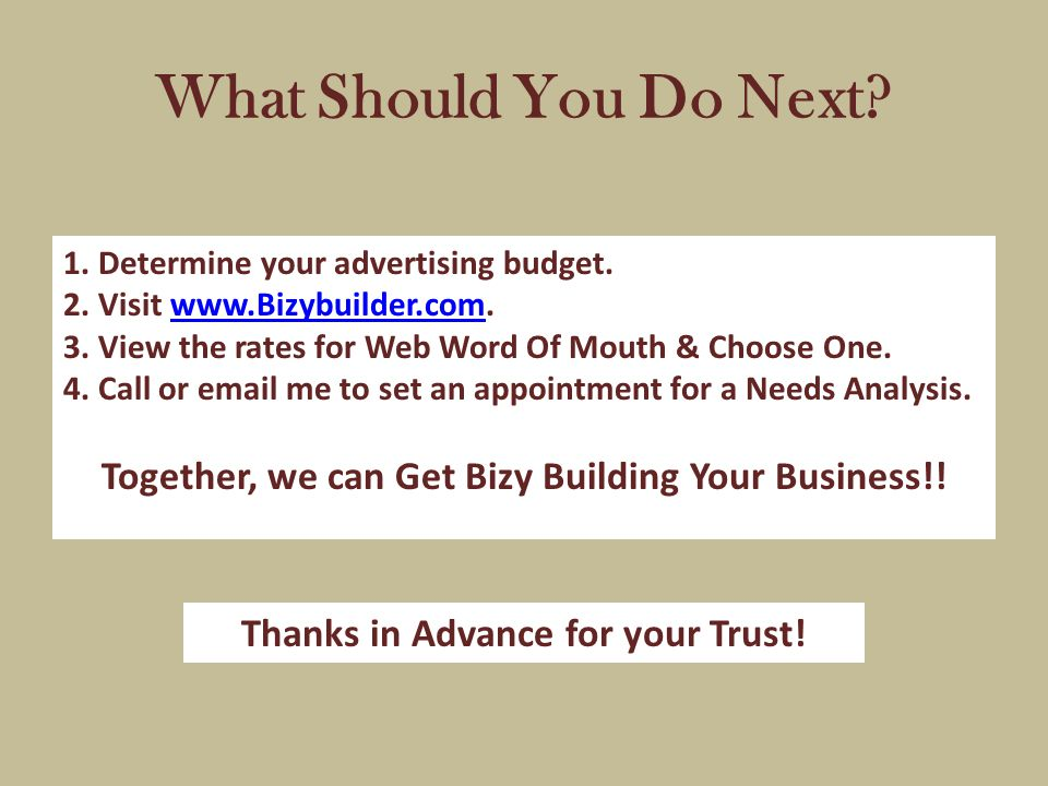 What Should You Do Next. 1. Determine your advertising budget.