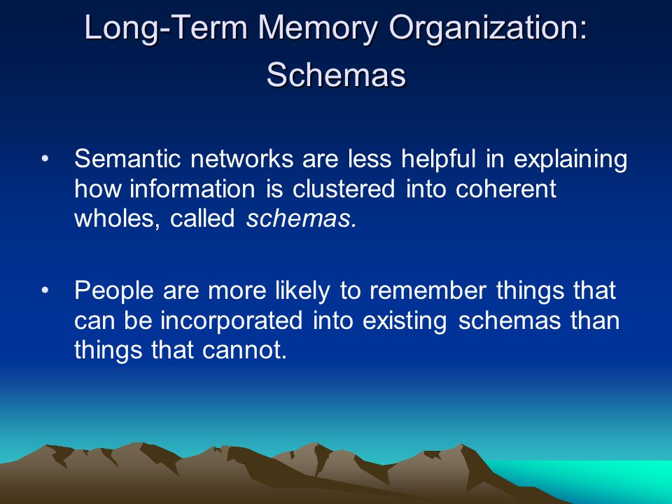 Long-Term Memory Organization: Schemas Semantic networks are less helpful in explaining how information is clustered into coherent wholes, called schemas.