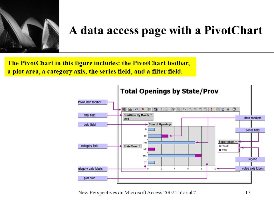 XP New Perspectives on Microsoft Access 2002 Tutorial 715 A data access page with a PivotChart The PivotChart in this figure includes: the PivotChart toolbar, a plot area, a category axis, the series field, and a filter field.